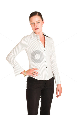 Charmaine Shoultz #21 stock photo, Business woman dressed in a white pinstripe shirt. by Sean Nel