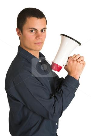 Businessman #218 stock photo, Businessman in a blue shirt, holding a megaphone as if it is a gun. by Sean Nel
