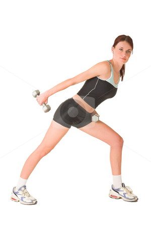Gym #147 stock photo, Woman in gym wear working out with weights infront of white background. by Sean Nel