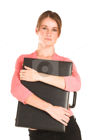 Businesswoman #409 stock photo, Brunette business lady in pink top.  Holding a suitcase. by Sean Nel