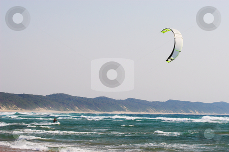Sudwana #17 stock photo, A person kite surfing in Sudwana by Sean Nel