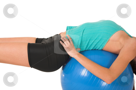 Gym # 158 stock photo, Woman in gym wear working out, on her back on ball. by Sean Nel