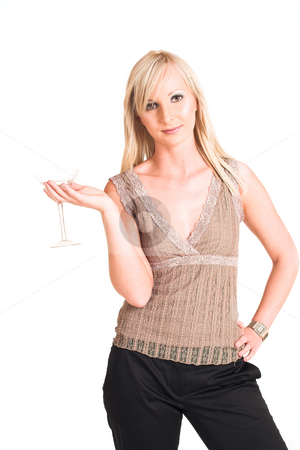 Business Woman #322 stock photo, Blond business woman dressed in black trousers and a beige shirt.  Holding a martini glass by Sean Nel