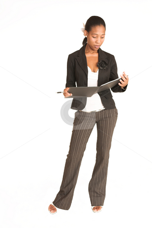Mida Matsimela #14 stock photo, African business woman dressed in black jacket. Holding pen and file by Sean Nel