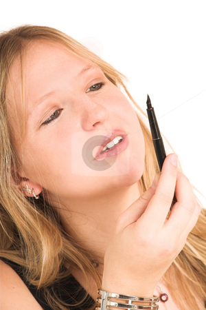 Business Woman #510 stock photo, Close up, blond Business Woman, wearing black top holding and looking at pen by Sean Nel