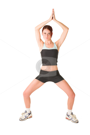 Gym#138 stock photo, Woman standing in tao position with hands together. by Sean Nel