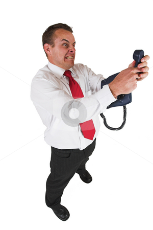 Tollie Booysen #29 stock photo, Businessman in white shirt and red tie. holding phone by Sean Nel
