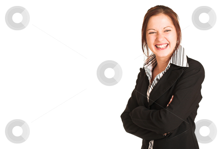 Business Woman #342 stock photo, Business woman with brown hair, dressed in a white shirt with black stripes and black jacket.  Standing with arms crossed, laughing - copy space by Sean Nel