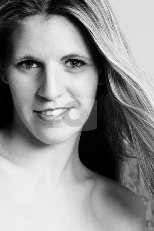 Faces #15 stock photo, Face of a young blonde woman - High Key BW by Sean Nel