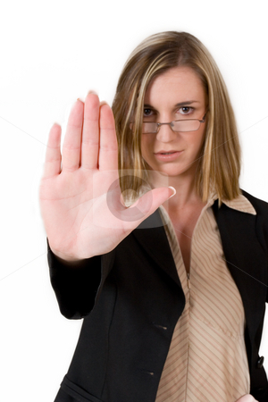 Business Lady #121 stock photo, Business woman in black suit holing up hand by Sean Nel