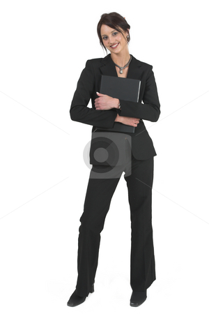 Businesslady #74 stock photo, Dark haired business woman with black file by Sean Nel