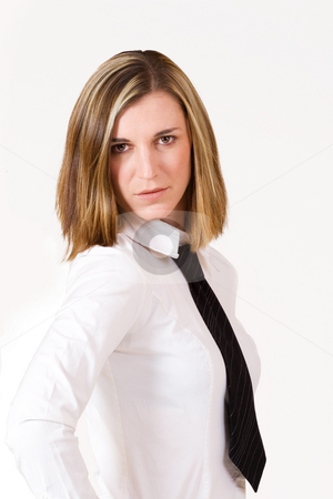 Felicity Calitz #6 stock photo, Business woman with white shirt and black tie by Sean Nel