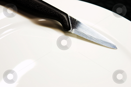 Knife stock photo, A knife on a white plate. by Sean Nel