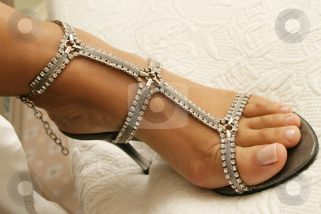 Bridal shoes stock photo, Close-up of bridal shoes with crystal necklace.  Shallow D.O.F by Sean Nel