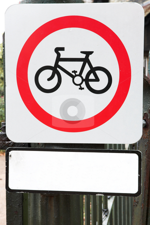 London #40 stock photo, Sign  with a bicycle in a park. Copy space. by Sean Nel