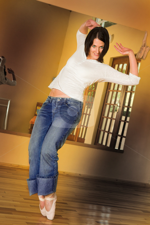 Modern Dancer #2 stock photo, Modern Ballet Dancer in blue jeans and Pointe Shoes. Practicing in Studio by Sean Nel
