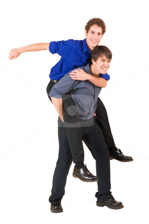 Business People #11 stock photo, Two business partners, one is piggybacking the other by Sean Nel