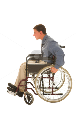 Businessman #122 stock photo, Man sitting in a wheelchair. by Sean Nel