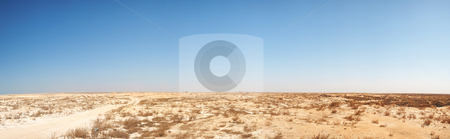 Middle-East desert panorama stock photo, Panoramic image of middle eastern desert in the North-west of Qatar near Fort Al Zubarah by Sean Nel