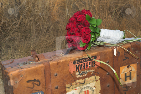 Wedding Flowers #1 stock photo, Wedding bouquet on old suitcase by Sean Nel