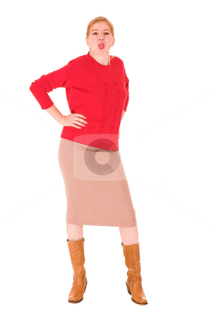 Sexy blonde businesswoman stock photo, Sexy young adult Caucasian businesswoman in Red top and pencil skirt on a white background, sticking her tongue out. NOT ISOLATED by Sean Nel