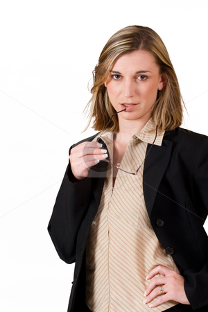 Felicity Calitz #4 stock photo, Business woman holding reading glasses by Sean Nel