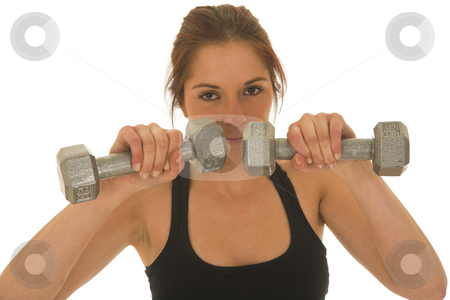 Gymbunny #34 stock photo, Brunette with black top with weights by Sean Nel