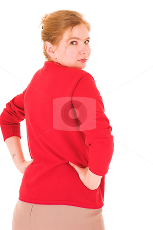 Sexy blonde businesswoman stock photo, Sexy young adult Caucasian businesswoman in Red top and pencil skirt on a white background. NOT ISOLATED by Sean Nel