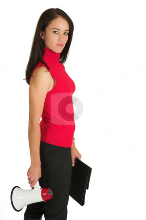 Business Woman #544 stock photo, Portrait of a brunette  woman,, wearing a rd top, holding a megaphone and a file by Sean Nel