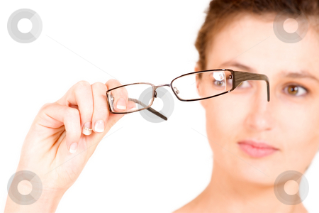 Business Lady #105 stock photo, Business woman holding glasses.  Shallow DOF - glasses in focus, eyes out of focus. by Sean Nel