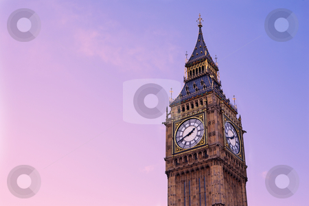 London#17 stock photo, Tower and clock in London.  Copy space. by Sean Nel