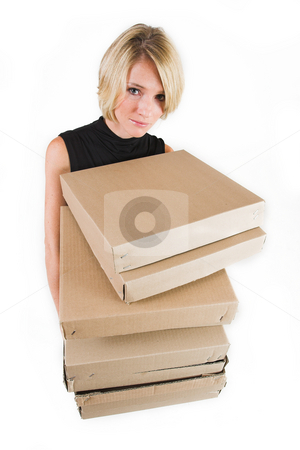 Business Lady #22 stock photo, Blond Business woman carrying boxes by Sean Nel