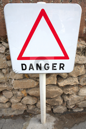 Danger Sign #02 stock photo, Danger sign next to the sea by Sean Nel