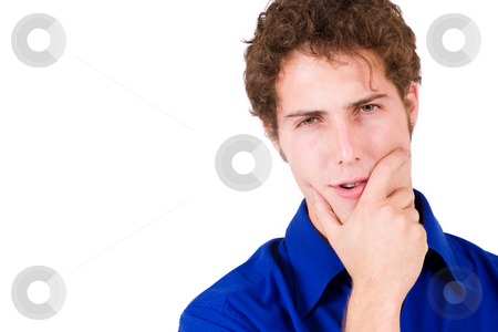 Businessman #66 stock photo, Businessman in blue shirt, holding face by Sean Nel