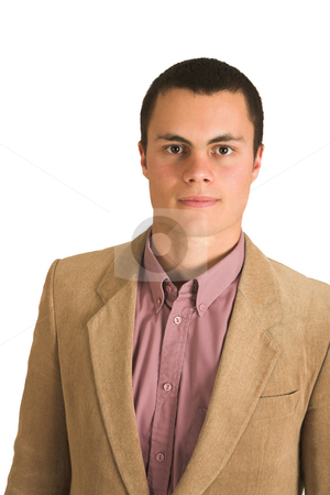 Businessman #192 stock photo, Businessman in a pink shirt and camel coloured jacket. by Sean Nel