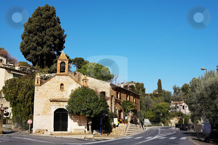 Village of St Paul stock photo, Buildings with windows and doors in the quaint little French hilltop village of Saint-Paul de Vence, Southern France,  Alpes Maritimes, next to the Mediterranean sea - A Heritage Site by Sean Nel