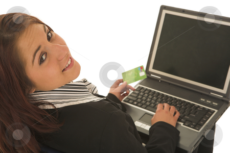 Ecommerce #01 stock photo, Woman on notebook computer with Credit Card by Sean Nel