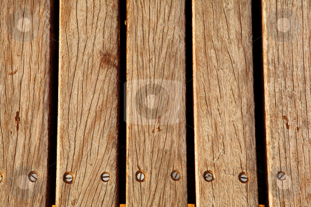 Wooden deck #1 stock photo, Old brown decking by Sean Nel