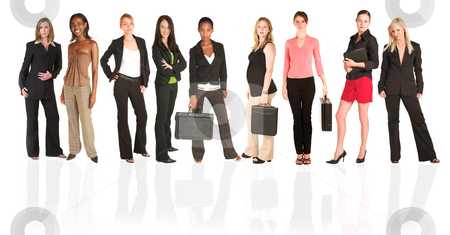 Business group of isolated woman only stock photo, A group of young modern businesswoman of different ethnicity and backgrounds, isolated on white. For use as a business background. by Sean Nel