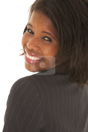 Beautiful African businesswoman stock photo, Beautiful African businesswoman with short hair in black suit on white background. NOT ISOLATED by Sean Nel