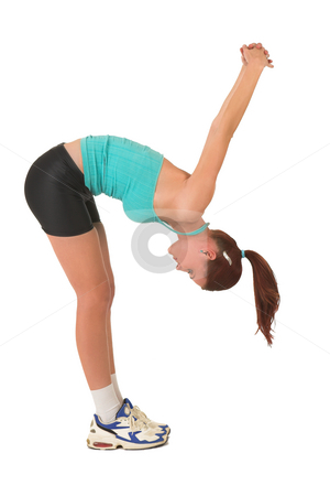 Gym #115 stock photo, Woman stretching, bending over. by Sean Nel