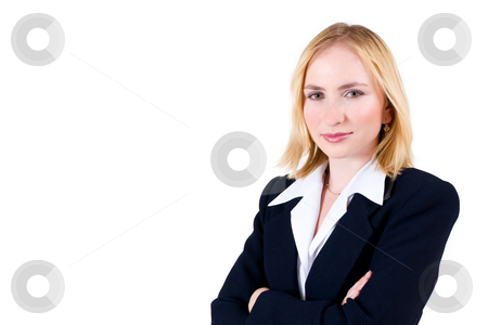 Lena Talberg #4 stock photo, Business woman in formal black suit, arms crossed - copy space by Sean Nel