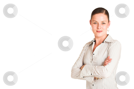 Charmaine Shoultz #23 stock photo, Business woman dressed in a white pinstripe shirt. copy space by Sean Nel