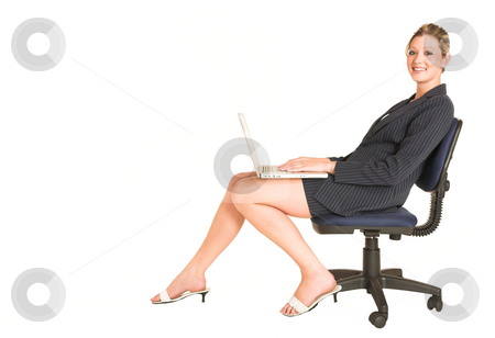 Laura Hopton #9 stock photo, Business woman on office chair with Laptop on her lap - copy space by Sean Nel