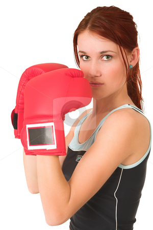 Gym #65 stock photo, Woman with boxing gloves by Sean Nel