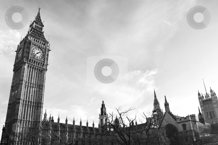 London#2 stock photo, Tower and clock in London.  Wide Angle, black and white.  Copy space by Sean Nel