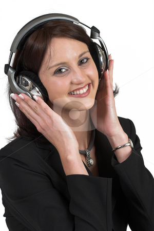 Music #5 stock photo, Woman with earphones by Sean Nel