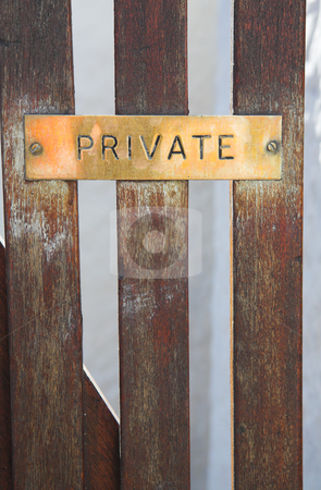 Private sign on gate stock photo, Copper plate sign with the word  by Sean Nel