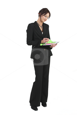Luzaan Roodt #23 stock photo, Business woman in formal black suit, standing with diary by Sean Nel