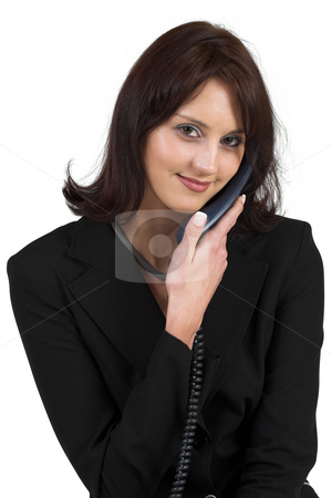 Business Lady #61 stock photo, Business woman with blue telephone by Sean Nel